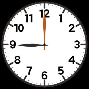 9時の時計